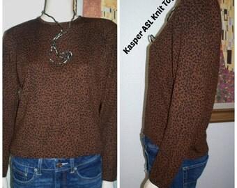"Vintage "" Kasper ASL "" Brown and Black Cheetah Animal Print Hong Kong Thin Knit Women's Sweater Blouse Top / Womens Knit Tops Small"