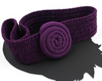 Purple Rosette Vintage Elastic Belt