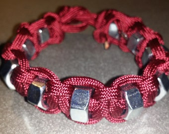 Burgundy Paracord Bracelet with Hex Nuts
