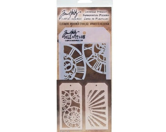 Tim Holtz Stencil Set of 2 CLOCKWORK & RAY 1.cc10