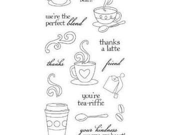 "Fiskars 4"" x 8"" Clear Stamp Set - LATTE LOVE coffee friends coffee cup tea cocoa 1.cc02"