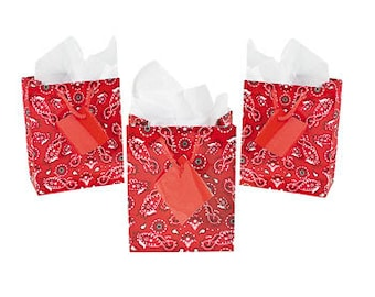 "5"" Western Cowboy Rustic Wedding Party Red Bandanna Bandana Mini Gift Tote Favor Bags - Pkg 48"