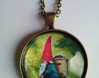 gnome necklace picture pendant