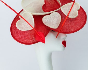 Finnola - fascinator - Sinamay - lovehearts - special ocassion - red - white