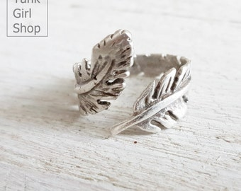 """Ring for winding feather, golden ring, adjustable """"feather light"""" silver"""