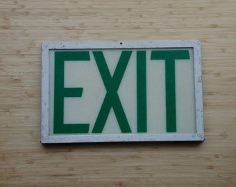 Vintage Green EXIT Sign in metal frame, Metal brackets, vintage signage,