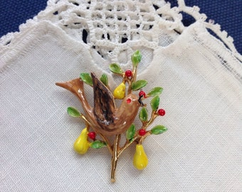 Book Piece ART Partridge in a Pear a Tree Pin Brooch