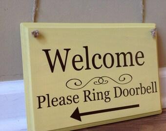 Welcome Sign Please Ring Doorbell arrow front door wooden sign Door decor hanging sign door knob hanger espresso brown hand painted spring