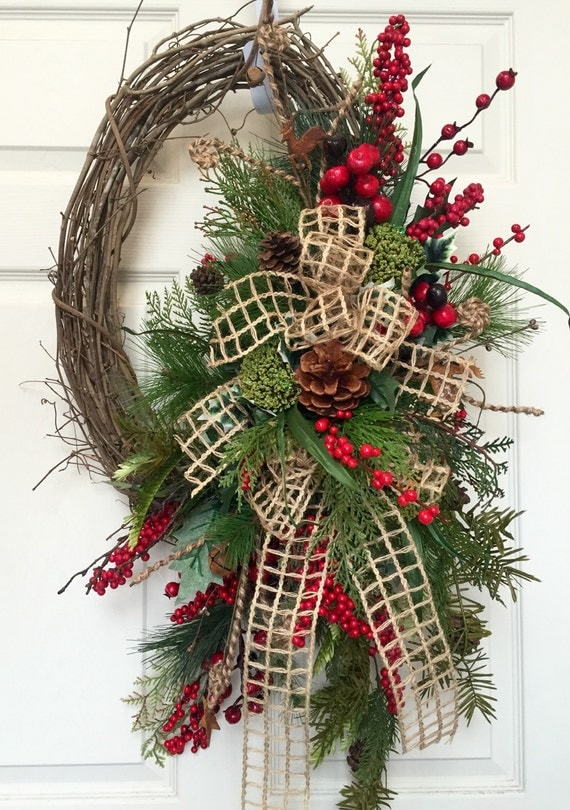 Christmas Or Winter Oval Grapevine Wreath
