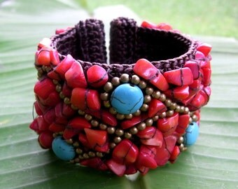 Chunky Red Beaded Stone Cuff (036B) - Thailand