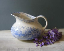 Antique French Wash Pitcher,Blue Transferware, with a pattern of ducks.