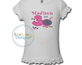 Sweet Candy Birthday Shirt or bodysuit- Any Age and color scheme (885)