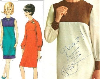 6633 Simplicity Sewing Pattern Slim Dress High Round Neckline Back Zipper Size 14 34B Vintage 1960s
