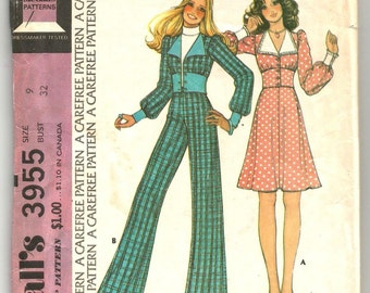 3955 McCalls Sewing Pattern Girls Top Pants Skirt Vintage 1970s Juniors Size 9 32B
