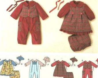 UNCUT 2347 Simplicity Sewing Pattern Baby Romper Dress Panties Hat XXS XS S M L