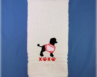 Poodle Gifts, Valentine Poodle Towel - XOXO Poodle Valentine Hand Towel - Black Poodle Towel- Valentine's Day Poodle Gift