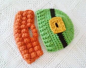 Kid's St. Patrick's Day Leprechaun Bearded Beanie - Toddler, Child - Fern Green, Black, Gold, Orange