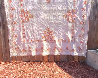 Vintage Cross Stitched Quilt (Full/Queen)