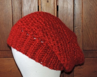 Slouchy Hat, Acrylic Yarn, Red, Hand Crocheted Made in USA