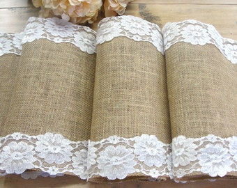 Burlap table runner wedding table runner with white floral lace vintage inspired rustic chic  wedding table decor , handmade in the USA