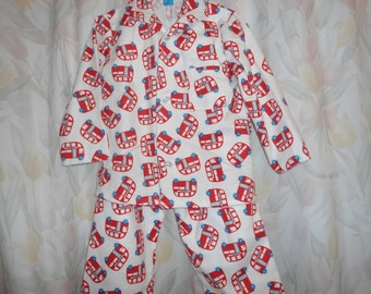 Size 6 Boys Pajamas with Red London Buses on white background