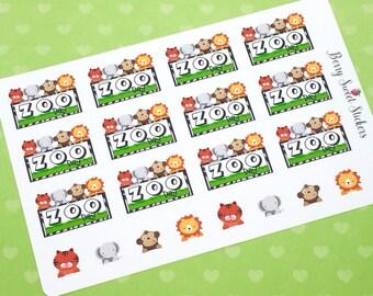 Zoo Planner Stickers, Animal Stickers, fit for Erin Condren Life Planner, Happy Planner, Plum Paper, Zoo Animals Planner Stickers