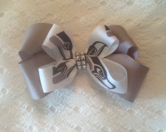 Handmade Seattle Seahawks Hair Bow