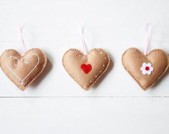 Gingerbread Heart Ornaments - Decorative Felt Christmas Ornaments - Hanging Gingerbread Hearts - Set of 3