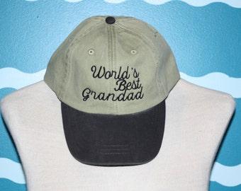 World's best grandad baseball cap - grandad ball cap - baseball hat for grandad - custom embroidered cap