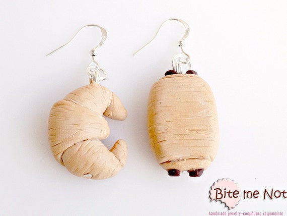 Butter Croissant and Chocolate Croissant Earrings, French Croissant Hooks, French Pastries, Croissant Jewelry, French Dessert Jewelry