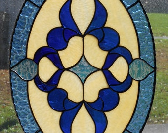 Stained Glass Victorian Style Panel - Handcrafted in the USA