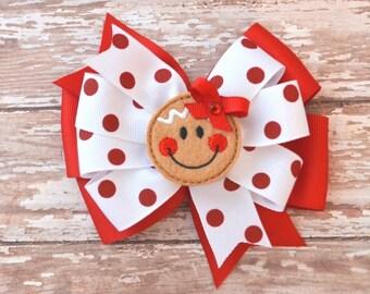 Christmas Hair Bow, Gingerbread Girl Hair Bow, Toddler Hair Bow, Gingerbread Bow, Christmas Headband, Baby Headband, Christmas Shirt, Bows