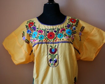 Frida Style Colorful Mexican Dress with Embroidered Flowers- Yellow- Summer-BOHO-Hippie