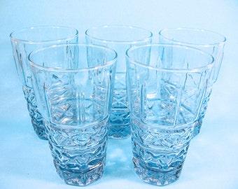 Blue  Glass tumblers, iced tea, lemonade glasses