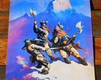 Vintage Original 70s Frank Frazetta Snow Giants Viking Fantasy Poster