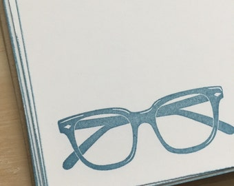 vintage inspired flat note cards and envelopes, retro eyeglasses stationery set,  glasses notecards