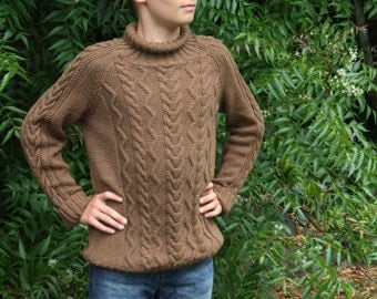Hand Knitted Boy's Sweater With Cable and Zigzag Pattern