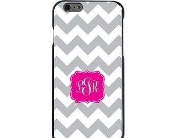 Hard Snap-On Case for Apple 5 5S SE 6 6S 7 Plus - CUSTOM Monogram - Any Colors - Grey White Chevron Hot Pink Frame