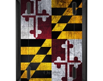 Custom OtterBox Defender for Apple iPad 2 3 4 / Air 1 2 / Mini 1 2 3 4 - CUSTOM Monogram - Old Weather Maryland Flag