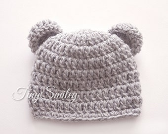 Cashmere Bear Baby Hat, Newborn Bear Hat, Gray Crochet  Bear Hat, Gray Bear Hat, Photo Prop, Hospital Baby Hat, Animal Baby Hats