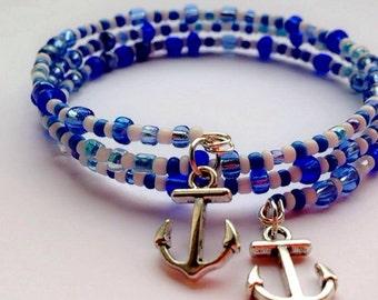 Anchor Seed Bead Bracelet