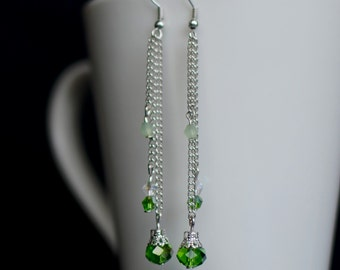 Long Dangle Earrings, Silver Earrings, Bridesmaid Gift, Long Crystal Earrings, Green Crystal Earrings, Gift for Her, Crystal Drop Earrings