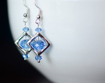 Blue Earrings, Silver Dangle Earrings, Swarovski Earrings, Bridesmaid Gift, Geometric Earrings, Gift for Her, Little Earrings