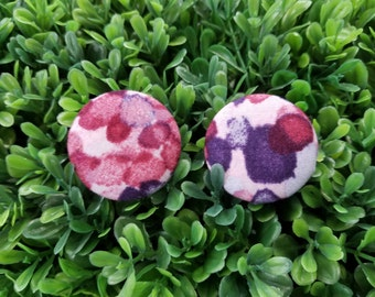Berries- Handmade Fabric Button Earrings
