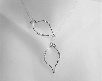 Leaf Necklace Silver Leaf Necklace Lariat Lariat Necklace Silver Lariat Leaf Lariat  Hammered Necklace Christmas Gift Gift For Her
