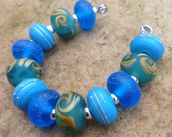 Turquoise with Pure Silver Lampwork Glass Bead Set