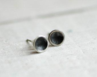 chip of massive silver ear round, delicate, cute, black and white, minimalist