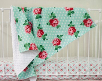 Retro Mint Rose Floral Baby Blanket with Minky Backing in Mint, Chinese Red, Pink, White