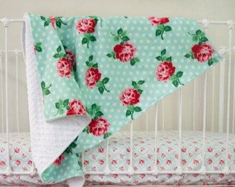 Lucy's Retro Mint Rose Floral Baby Blanket with Minky Backing in Mint, Chinese Red, Pink, White