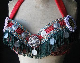 Bellydance bra, belly dance, tribal fusion bra, red bellydance, ATS, ITS, bellydance costume
